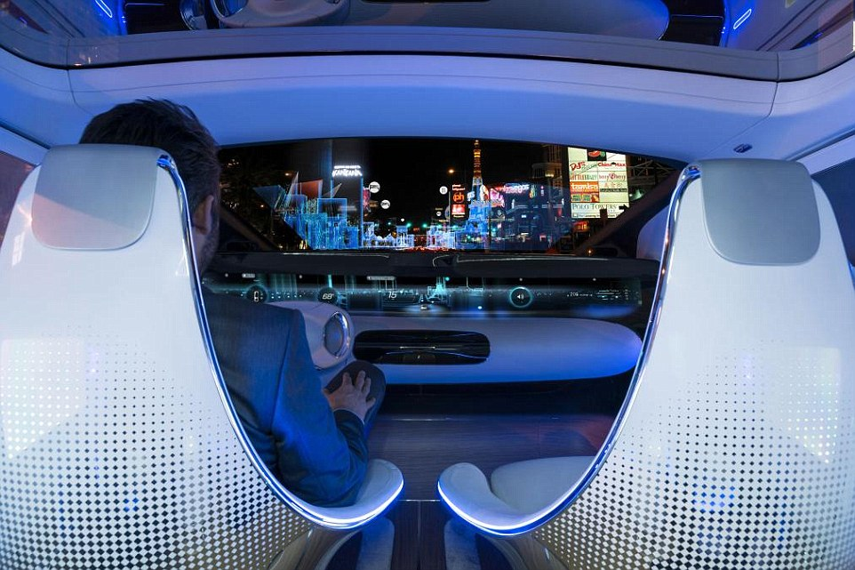 Safety first: While the car is self-driving, it can project lights on to the road using its LED headlights to let pedestrians know when to cross