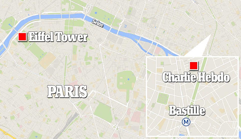 Location: Officers were involved in a gunfight with the men, who escaped in a hijacked car and sped away from the office towards east Paris