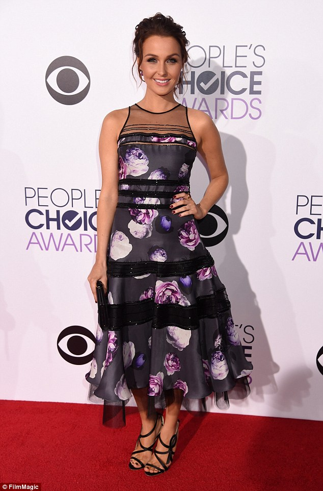 Another flower bomb: Camilla Luddington of Grey's Anatomy had too much going on with her dress though the strappy heels are cute
