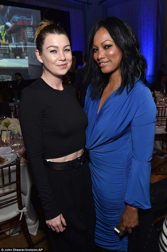 Catch up:Ellen Pompeo, left, and Garcelle Beauvais talked inside the venue ahead of their dinner