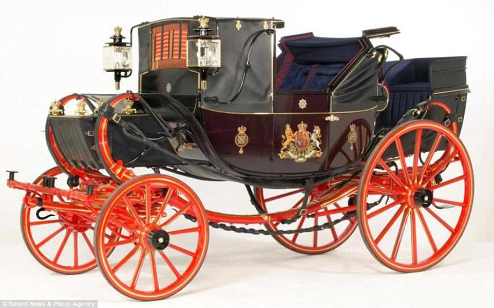 A collection of Victorian wrought-iron horse-drawn carriages is to sell for an expected £1.5million. Pictured, the 1835 Traveling Landauer