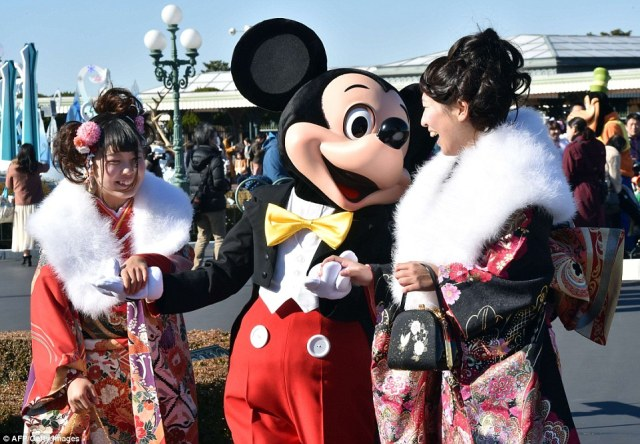 Mouse about that: The famous Disney character proved a popular photo opportunity