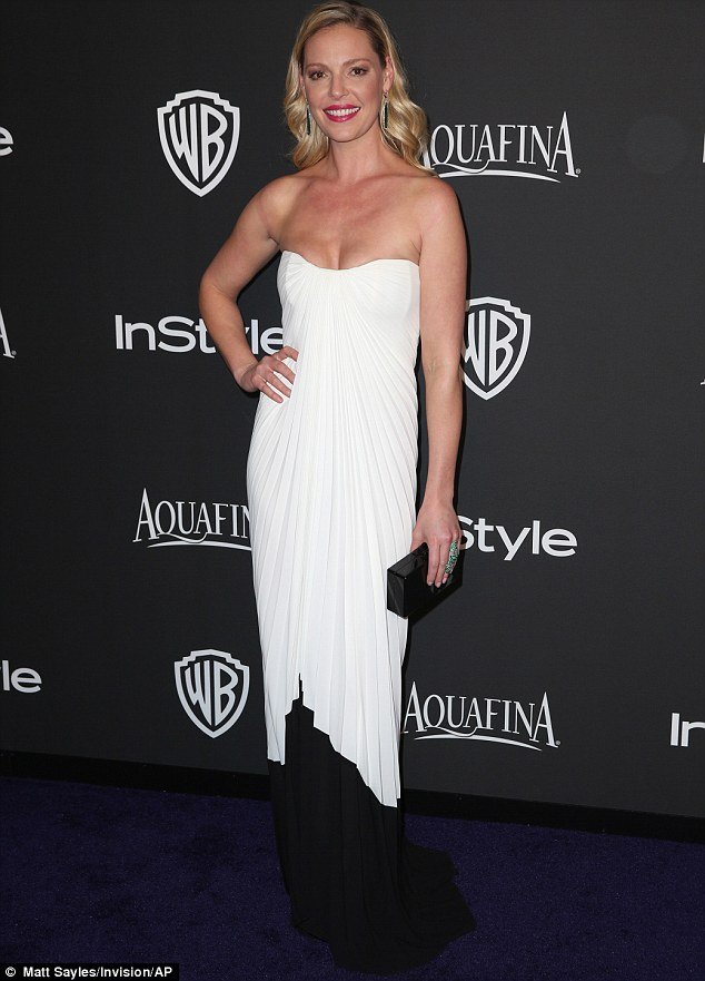 Ready for her close-up: Katherine Heigl opted for monochrome look as she wore a flowy black and white dress