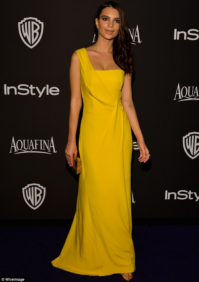 No so mellow yellow:Emily Ratajkowski definitely turned heads as she showed up to the event in a rather bright sun-coloured ensemble