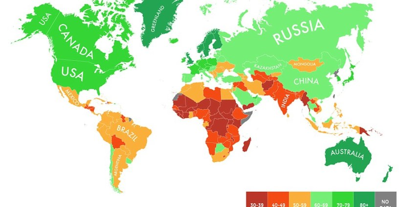 Image result for map of world countries best for climate change