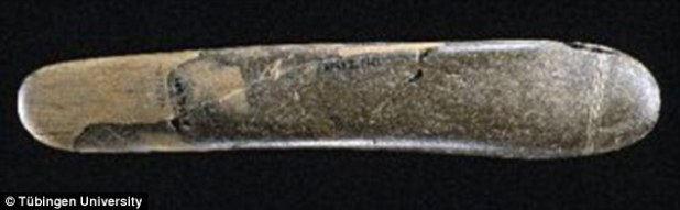 A 7.8-inch (20cm) long, 1.1-inch (3cm) wide stone object (pictured) was found in the Hohle Fels Cave near Ulm in the Swabian Jura. The prehistoric 'tool' is made from 14 fragments of siltstone and dates back 28,000 years. Due to its size, experts believe it may be the earliest example of a sex aid ever found