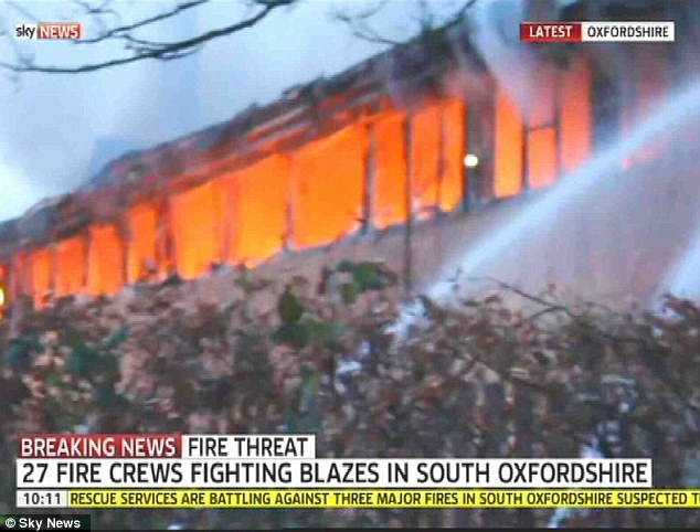 At its height 27 fire crews from Oxfordshire and Berkshire were called to battle the large blaze