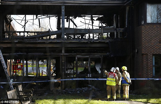 The council offices were left blackened, bucked and destroyed after fire tore through the building today