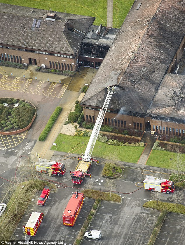 Fire crews spent more than eight hours battling the blaze at the council offices today, severely damaging it
