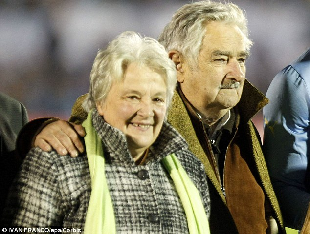 President Mujica - pictured here with his wife Sen. Lucia Topolansky, is thought to donate much of his $11,000-a-month salary to homeless charities