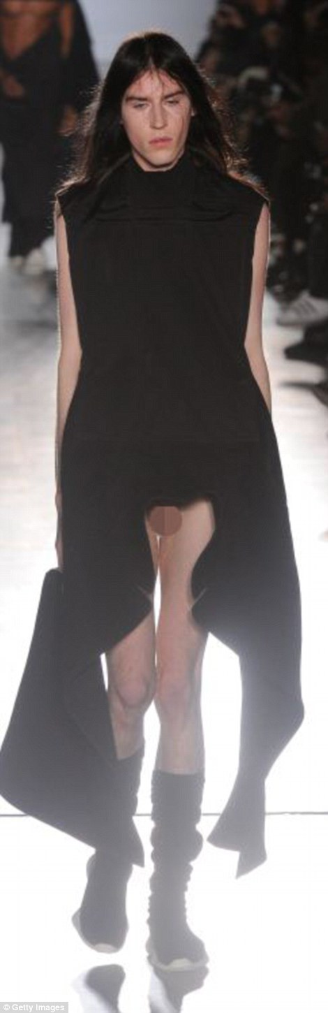 One model drew the short-straw at Rick Owens in Paris today, wearing a smock that fell short of covering his crotch