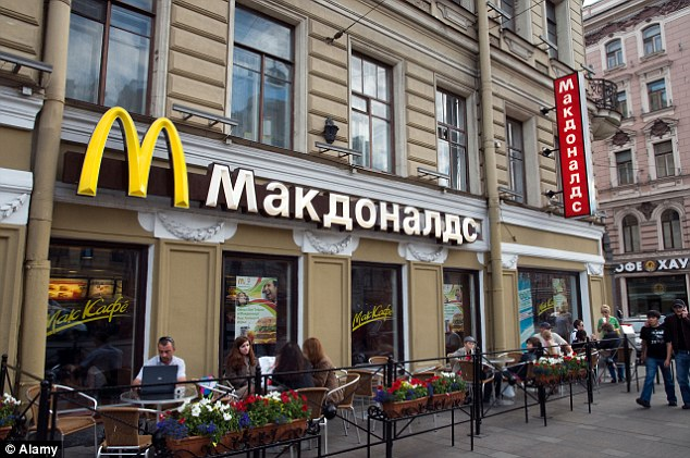 A fall in the rouble means Russia is one of the  cheapest places to buy the burgers - which cost just 91p there