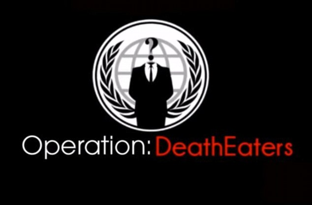 A still from the Operation Death Eaters video by  Anonymous - the hacking group says it is is planning on collecting evidence against international paedophile rings to ultimately bring the perpetrators to justice