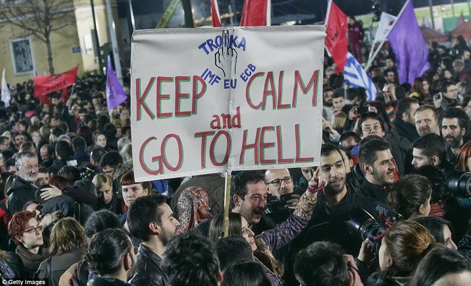 Uncompromising: Greece has built up years of resentment to austerity and bailout measures imposed by the European Central Bank