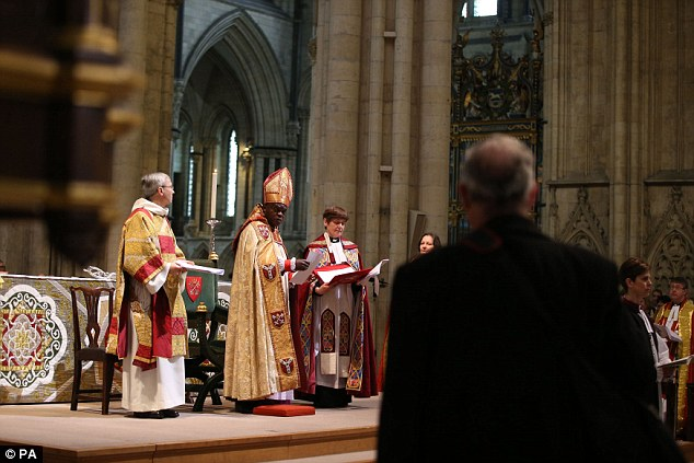 Rev Williamson interrupted the ceremony by shouting 'Not in the Bible'. A Church of England spokesman said his attempt to disrupt the ceremony was 'expected'