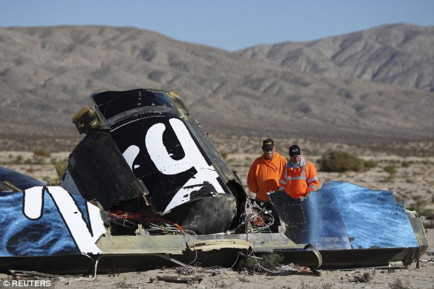 An investigation into the crash, which scattered debris across the Mojave Desert (above), is still ongoing