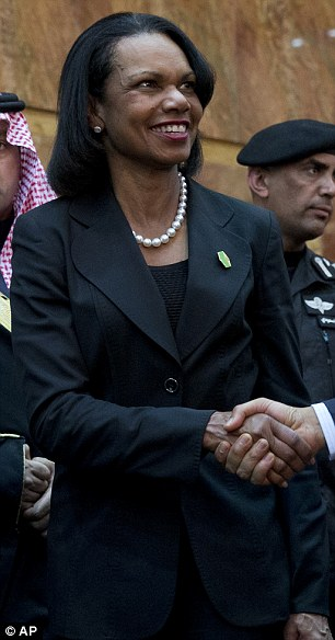 House Minority Leader Nancy Pelosi and former Secretary of State Condoleezza Rice (pictured) were two other women in the American delegation visiting Saudi Arabia, but attracted little attention in their neutral all-black outfits