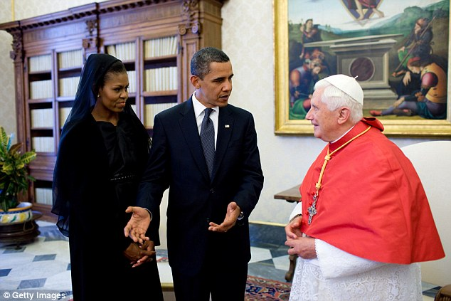The First Lady also donned a sheer black veil to meet former Pope Benedict in Vatican City in July 2009
