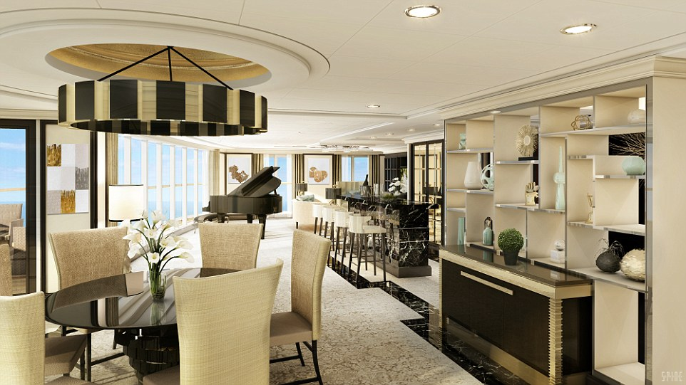 The living area inside the Regent Suite, that measures in total almost four times the size of an average UK house, oozes class and style