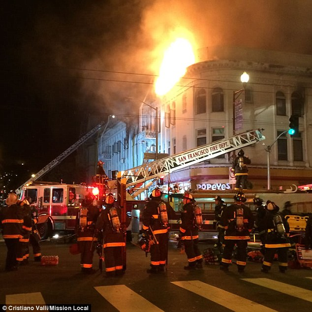 Mission District: The four-alarm fire broke out around 6.50pm Wednesday at a large building in San Francisco's Mission District