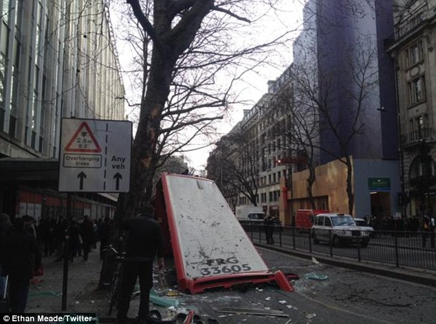 Five people were injured after a London double decker bus had its roof ripped off today