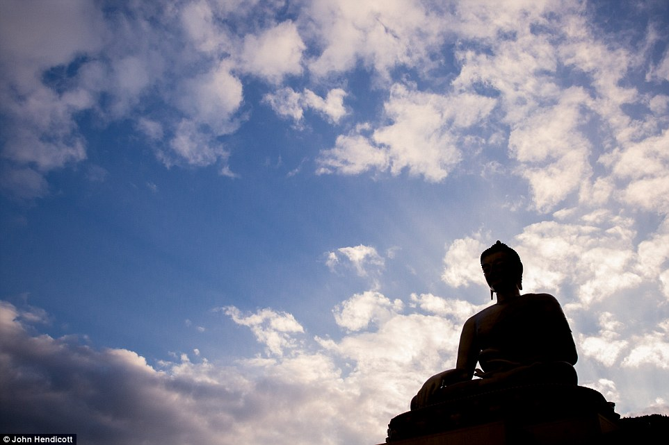 The impressive Buddha Dordenma Statue in silhouette. The ten-day celebration of arts and culture begins on February 14