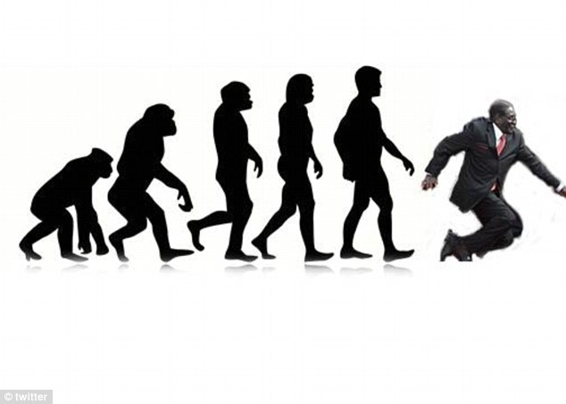 Evolution: Humankind evolves from ape, to Homo Sapiens, to... Robert Mugabe