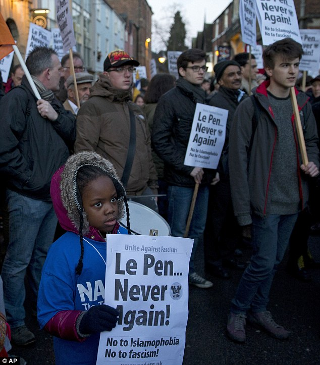 Demonstrators  outside the Oxford Union protests against the appearance of Marine Le Pen, the leader of France's Front National. Photograph: AP