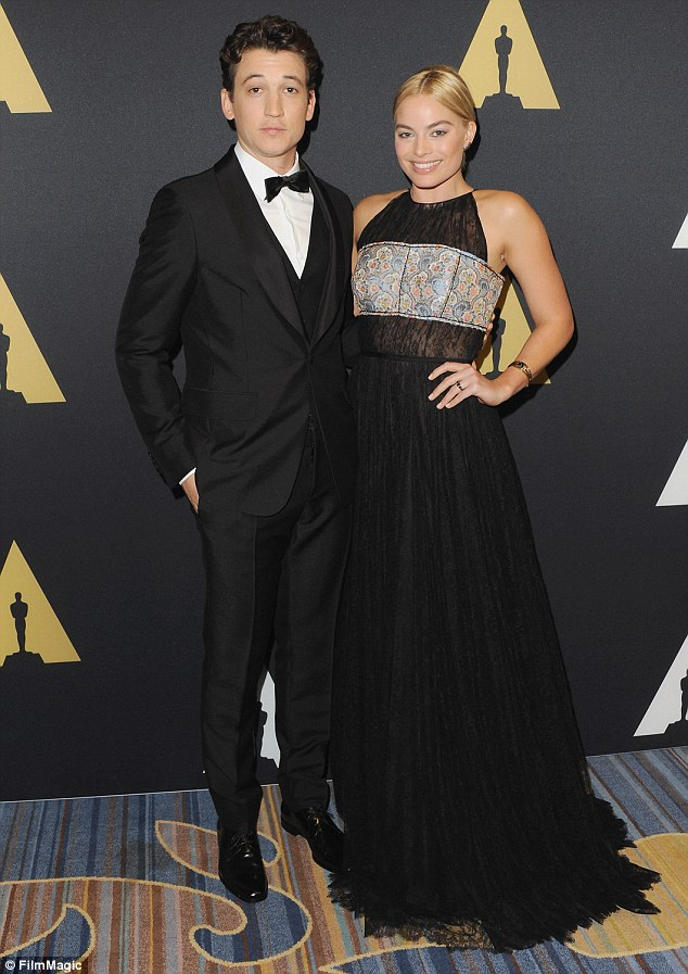 Co-presenter: Margot was joined by Divergent star Miles Teller who looked suave in a tuxedo.