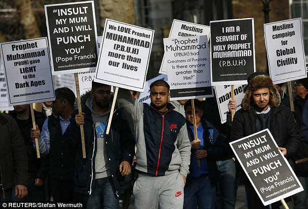 The rally was organised by the Muslim Action Forum, which expressed 'deep regret' at the Paris terror attacks