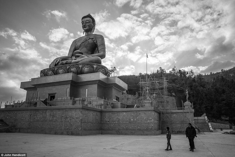The 170-foot Buddha Dordenma Statue, one of the largest statues of Buddha in the world, overlooking the  Thimphu Valley