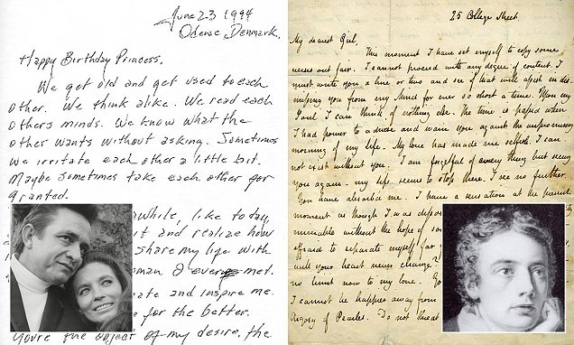 Johnny Cashs message to his wife is voted greatest love letter of all time  Daily Mail Online