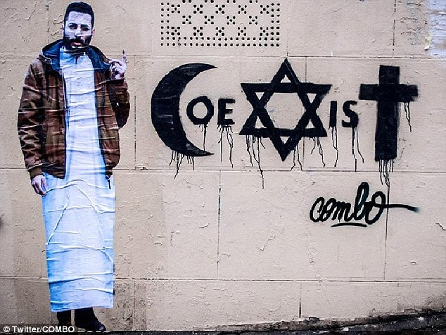 Calling for peace: The design featured the word 'coexist' written with a Muslim crescent for the letter C, a Star of David as the X and a Christian cross as the 'T'. It was accompanied by a life-size self-portrait
