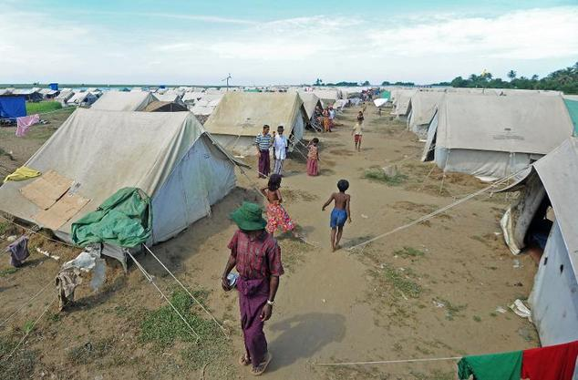 Muslim Rohingya people ina camp for Internally Displaced Persons on the outskirts of Sittwe, the capital of Myanmar's western Rakhine state
