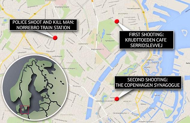 Ubicación: Antes de la 'persona de interés' fue muerto a tiros por la policía, los oficiales habían estado manteniendo una dirección en observación en Norrebro, a unos cinco kilómetros de distancia de la sinagoga.  Por encima, este mapa muestra la ubicación de los disparos café, las horas de ataque sinagoga más tarde y el tiroteo fatal entre la policía y el hombre