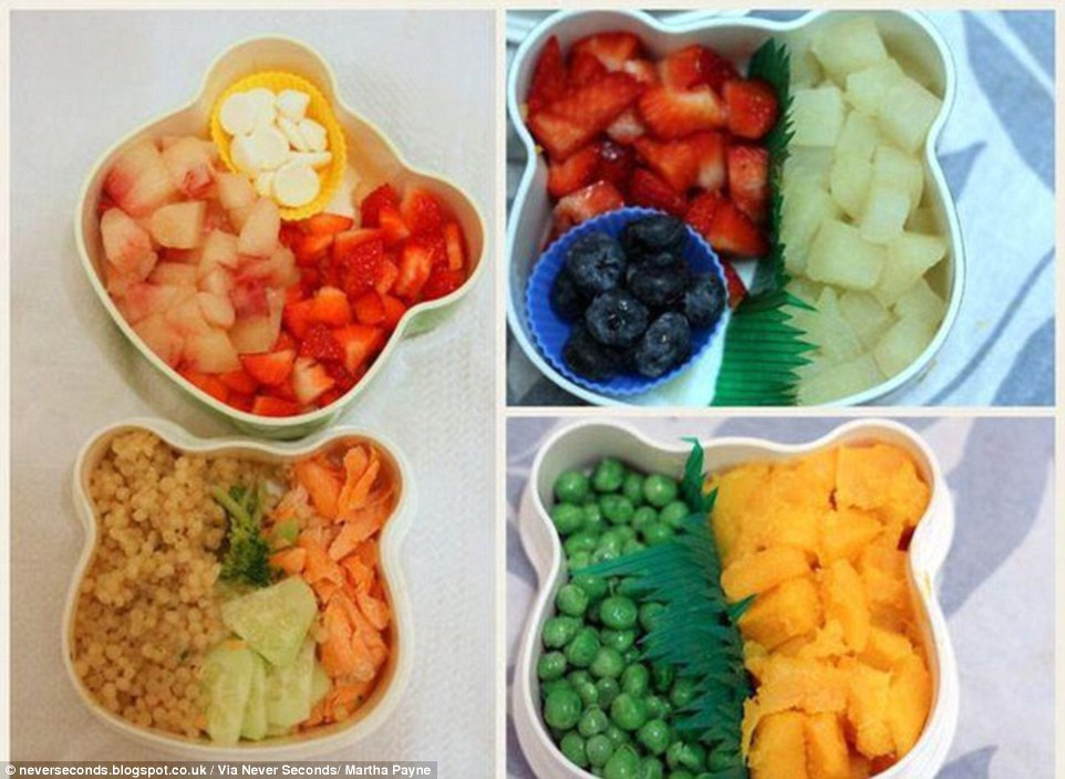 School lunch in Alba, Spain (left): white flesh peaches, strawberries and yogurt melts, cous-cous, broccoli, cucumbers and roasted salmon; (right): Poached apple pears, strawberries and blue berries, boiled swede and fresh garden peas