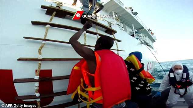Mass emigration: More than 5,000 migrants - including those fleeing the Libya crisis - have arrived in Italy since the start of January alone which is a 59 per cent increase on the same time last year