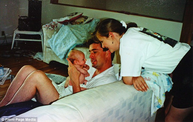 Family love: Tim Tobin with his wife Deb and baby daughter Alyssa before they were murdered by his father-in-law
