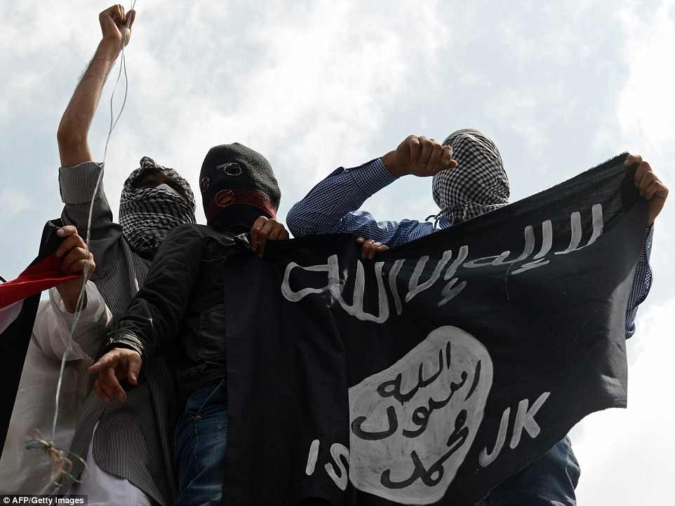 Expansion: As the West's gaze was transfixed on Islamic State's brutal acts of terror in Iraq and Syria, it was gaining support from marginalised Muslims as far as Kashmir (pictured) on the Pakistan-Afghanistan border