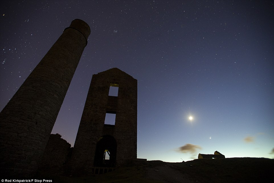 Closest conjunction since 2008: This photograph was taken from Magpie Mine, an old lead mine near Monyash, in the Derbyshire Peak District
