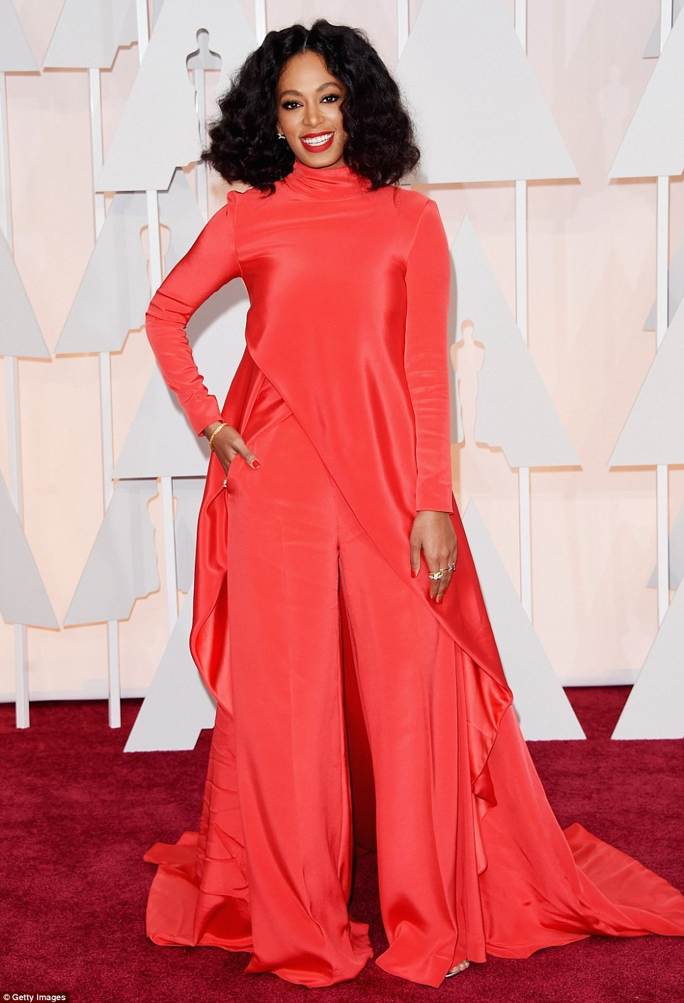 The usually stylish Solange Knowles turned up to the Oscars wearing the red carpet; the Christian Siriano Fall 2015 crepe cape top and pant was a strange choice