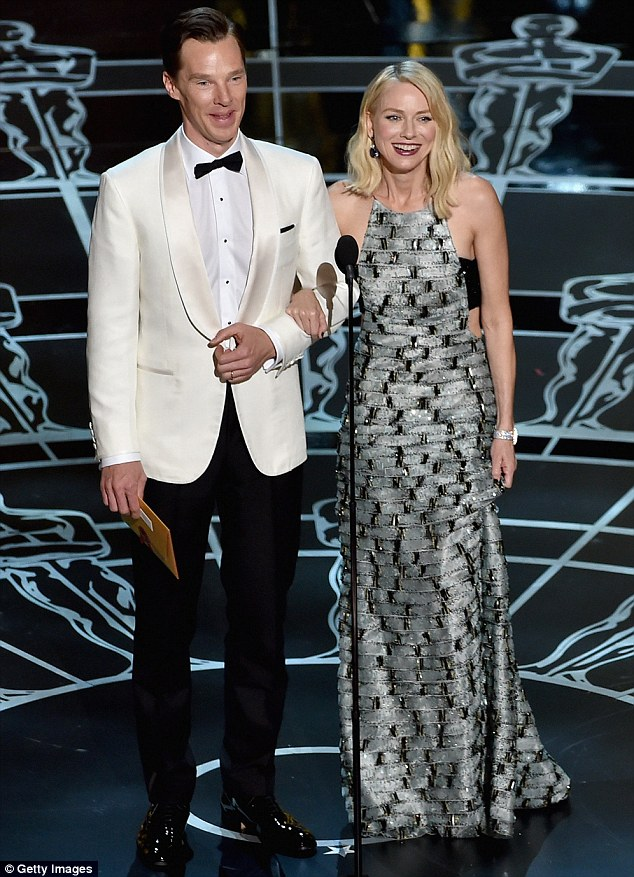 Presenter: Benedict Cumberbatch (L) and Naomi Watts speak onstage during the 87th Annual Academy Awards