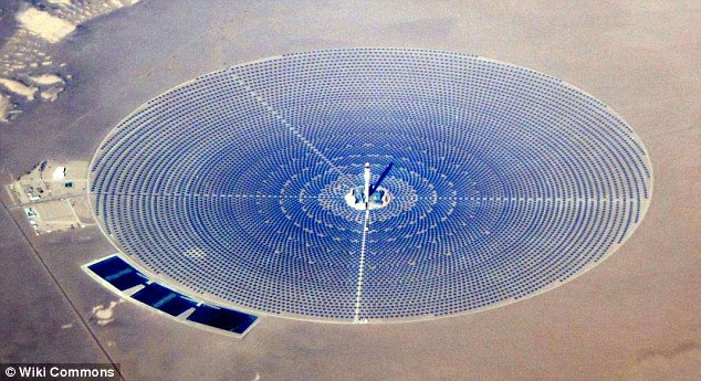 Biologists say 130 birds have caught fire in mid-air while entering an area of concentrated solar energy created by the 110-megawatt Crescent Dunes Solar Energy Project (pictured) near Tonopah, Nevada