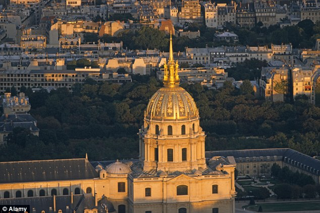 Fear: Drones were spotted flying near the Invalides military museum, where Napoleon Bonaparte is buried