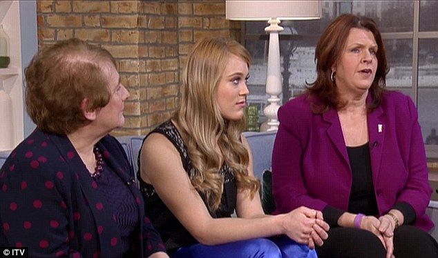Talking about the latest findings, FAS expert Dr Mary Mather (far left) appeared on the programme alongside FAS sufferer Jade (centre) and her adoptive mother Alison (right)