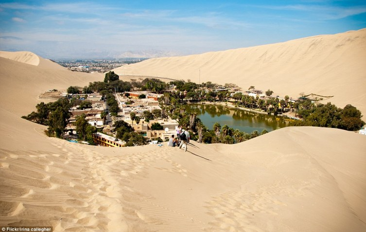 The Incans make their living on guests coming from afar to climb to the top of a wind-sculptured sand dune and watch the sunset over the golden landscape, before sailing on down rented sandboards or dune buggies
