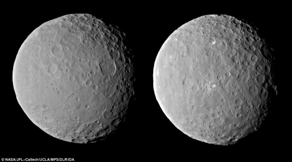 Dawn observed Ceres completing one full rotation, which lasted about nine hours. The images show the full range of different crater shapes that can be found at Ceres' surface: from shallow, flattish craters to those with peaks at their centers