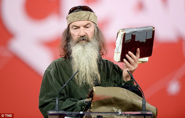 Robertson brought his Bible up with him for his acceptance speech