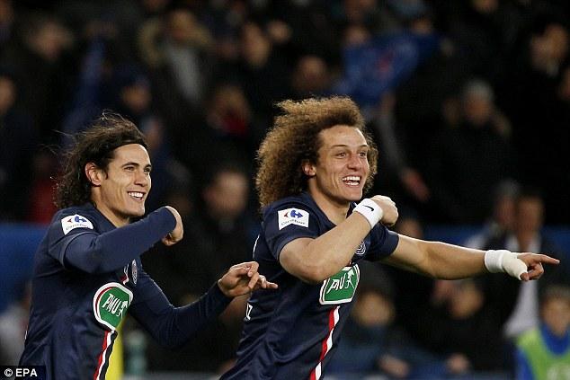 David Luiz (right) celebrates with his team-mate Edinson Cavani (right) after scoring in the third minute