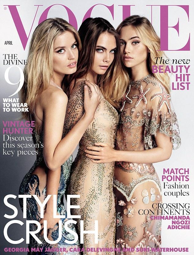 Suki Waterhouse, Cara Delevingne dan Georgia May Jagger @Vogue Magazine